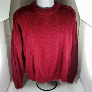 Mens Red Meeting Street Pullover Sweater Cotton XL